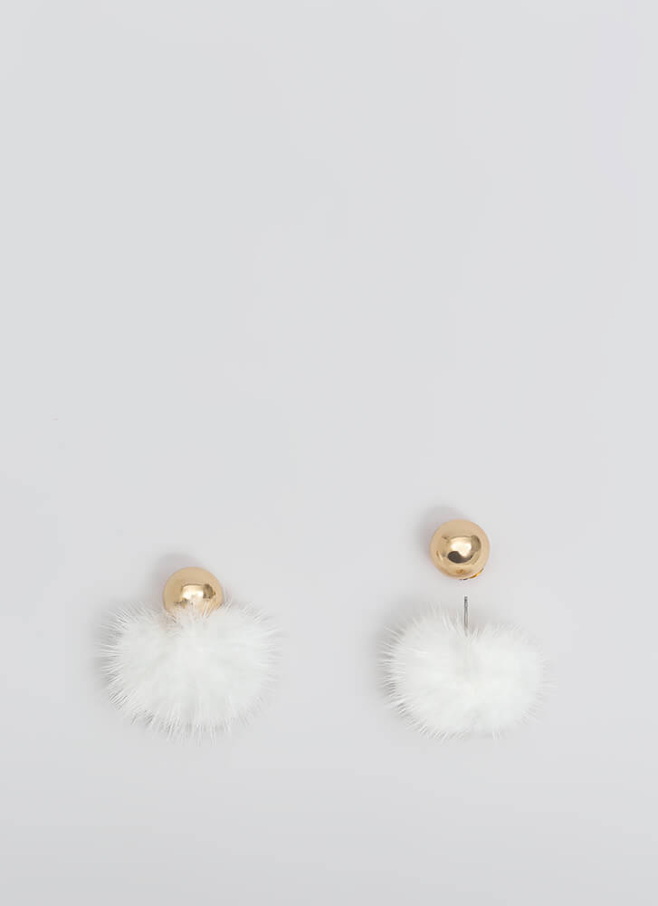 Fur Your Own Good Double-Sided Earrings WHITE