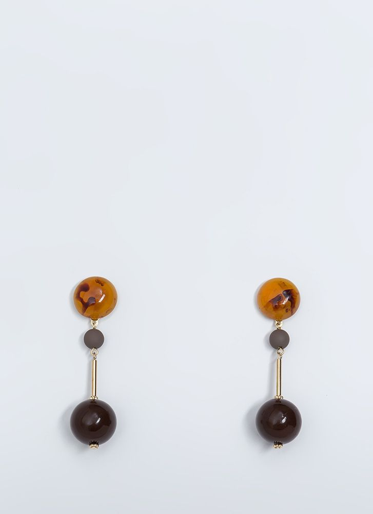 Playing Marbles Beaded Earrings BROWN