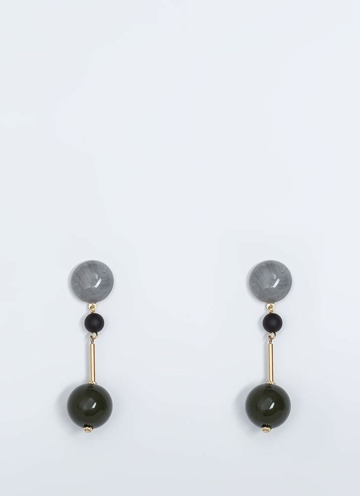 Playing Marbles Beaded Earrings OLIVE