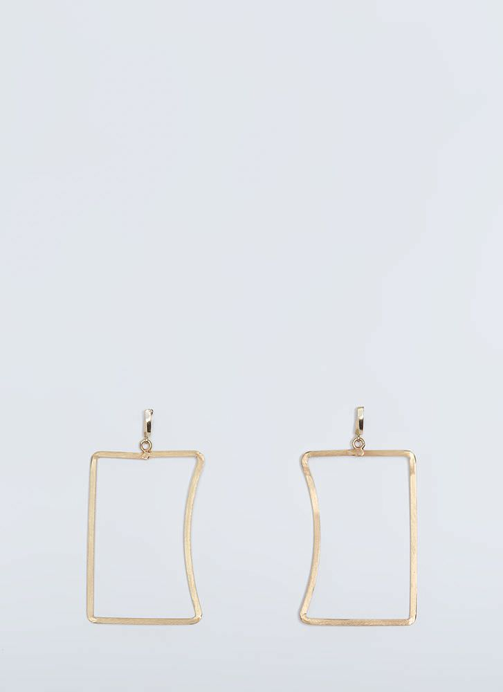Caved In Cut-Out Rectangle Earrings GOLD