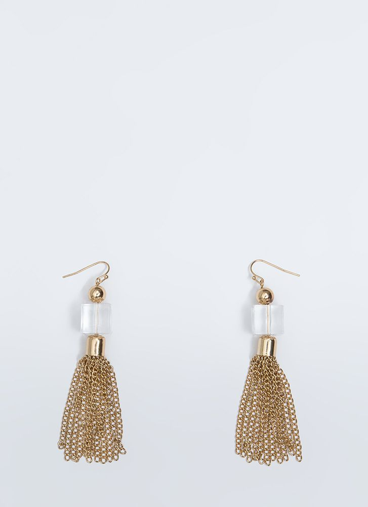 Clearly Cubed Chain Tassel Earrings GOLD