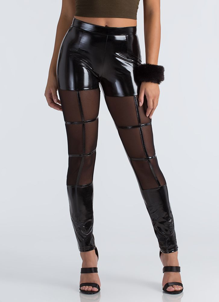 Out The Window Mesh Inset Vinyl Pants BLACK