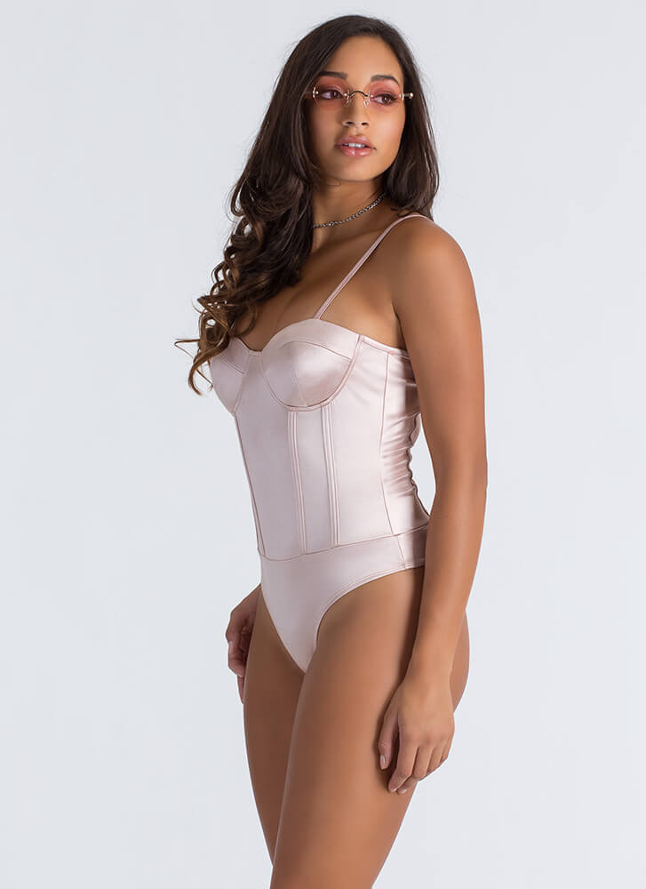 Sexy In Satin Caged Back Thong Bodysuit DUSTYPINK