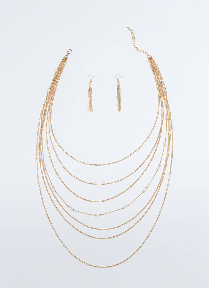 Make It Clear Draped Chain Necklace Set GOLD (You Saved $8)