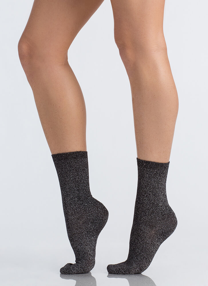 Feet First Sparkly Ankle Socks BLACK (Final Sale)