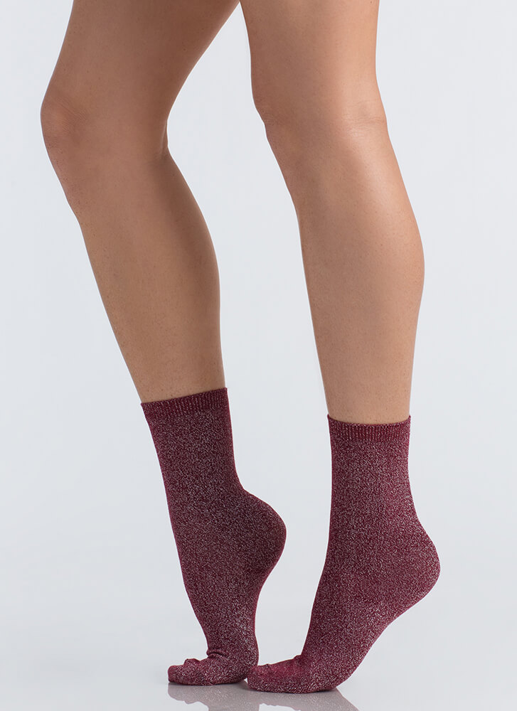 Feet First Sparkly Ankle Socks BURGUNDY (You Saved $5)