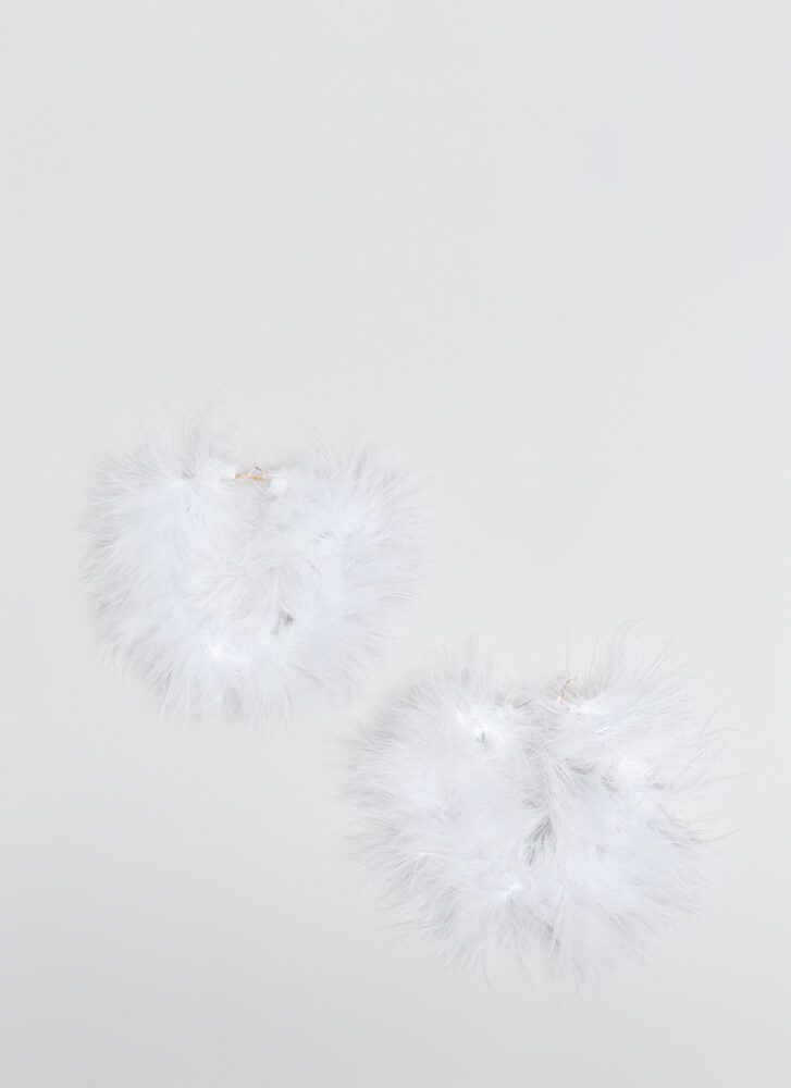 Feather Report Oversized Hoop Earrings WHITE