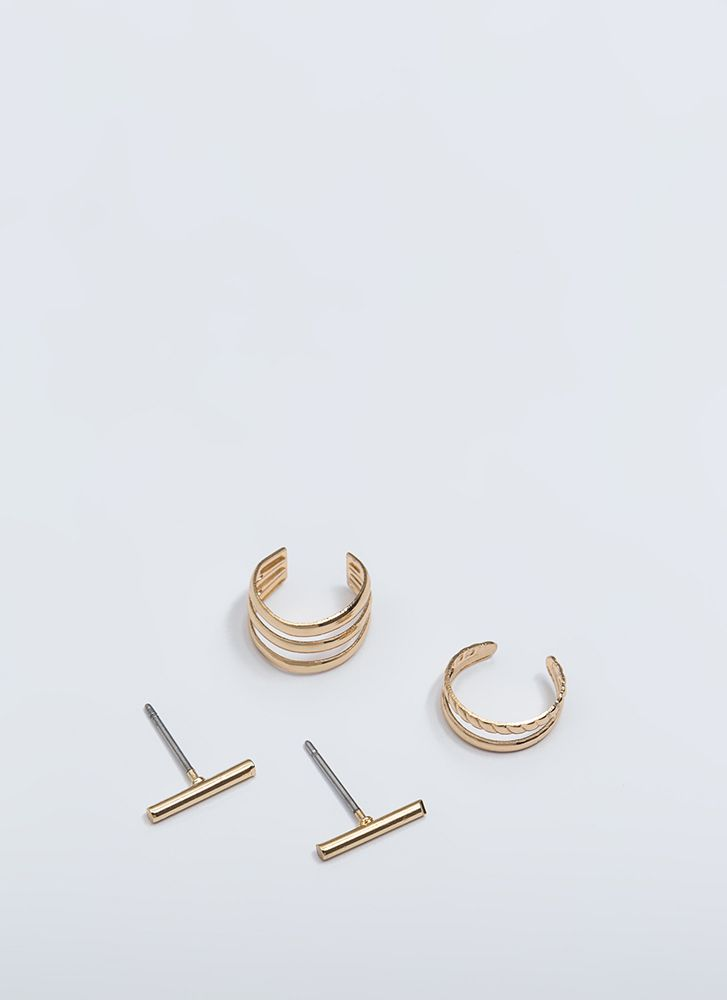 Singles Bars Ear Cuff And Earring Set GOLD