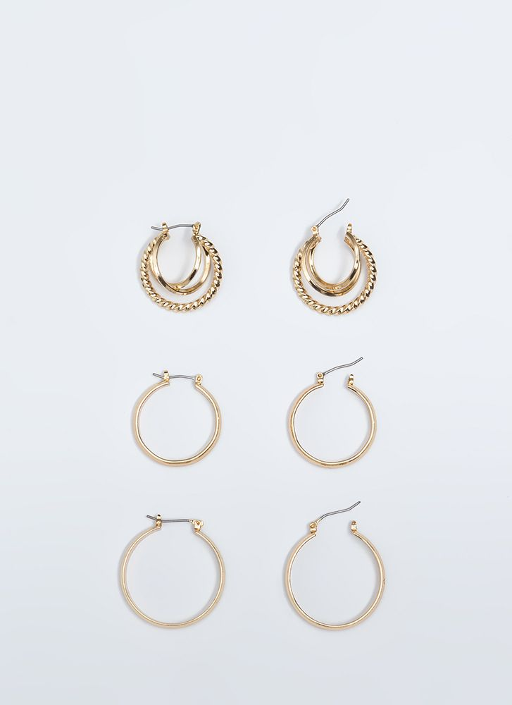 Round And Round Hoop Earring Trio GOLD