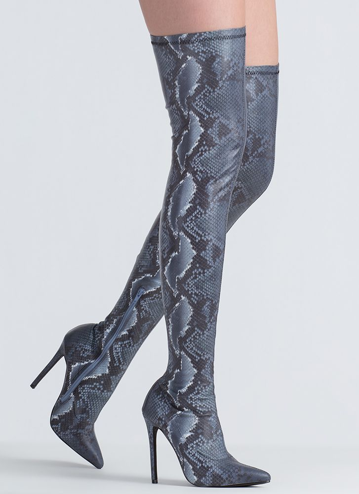 You Little Snake Pointy Thigh-High Boots BLACK