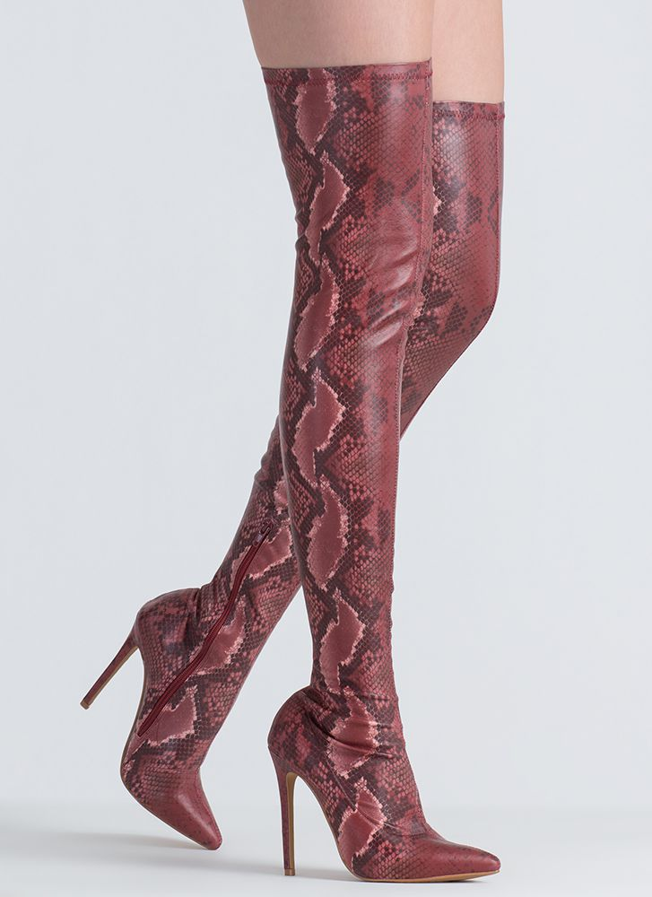 You Little Snake Pointy Thigh-High Boots WINE
