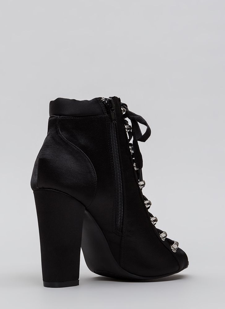 Seriously Satin Chunky Lace-Up Booties BLACK