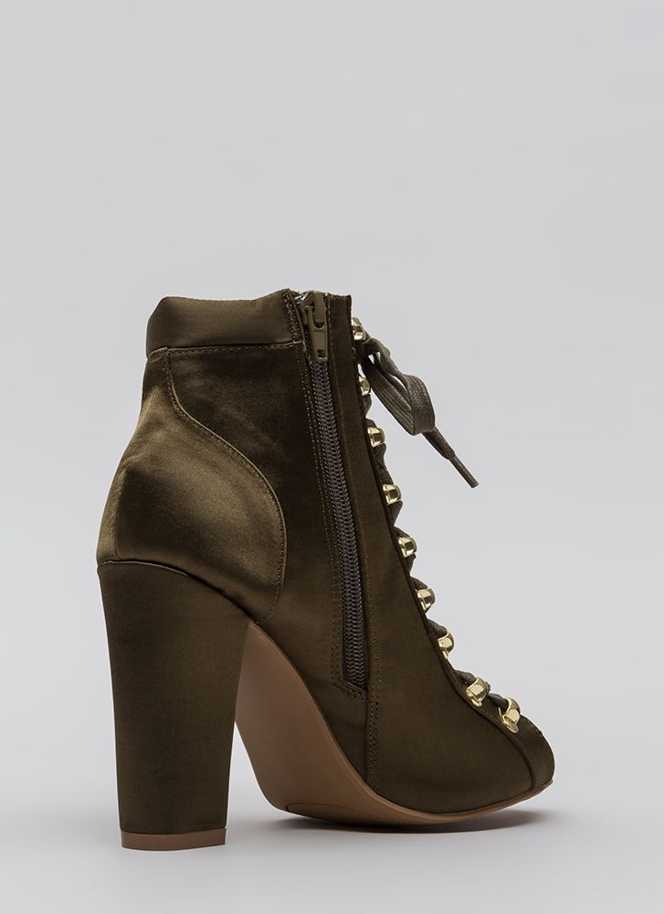 Seriously Satin Chunky Lace-Up Booties OLIVE