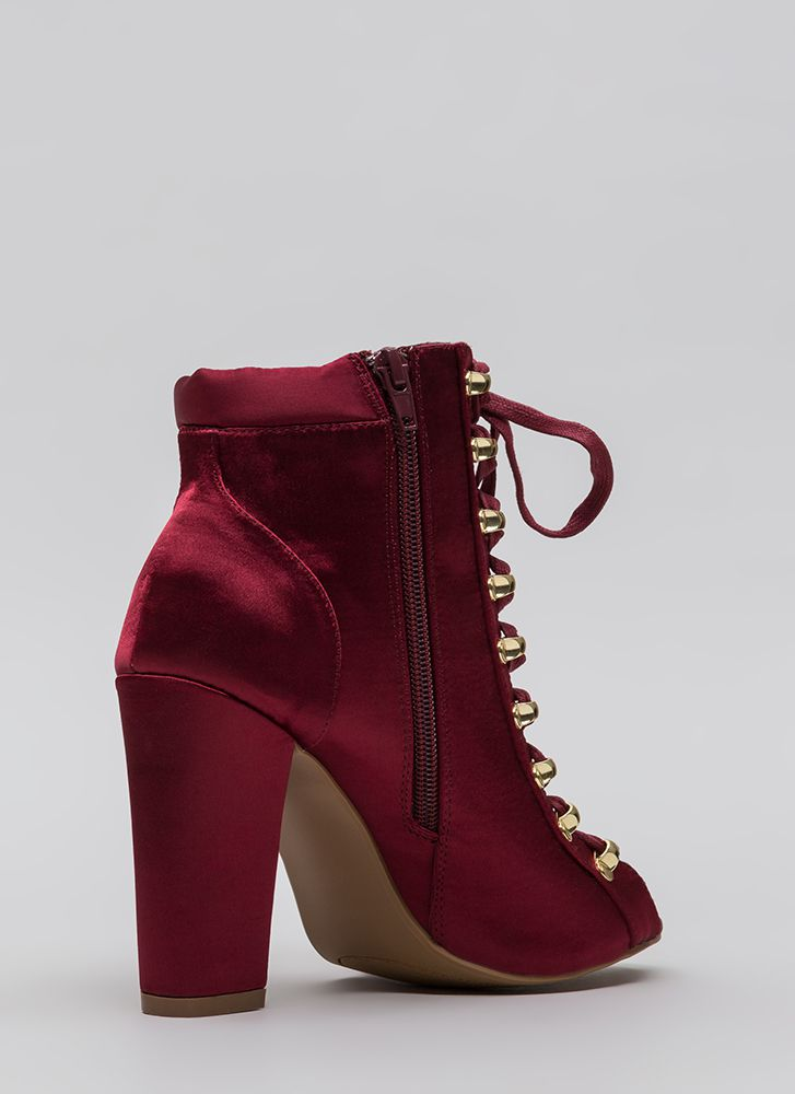 Seriously Satin Chunky Lace-Up Booties WINE
