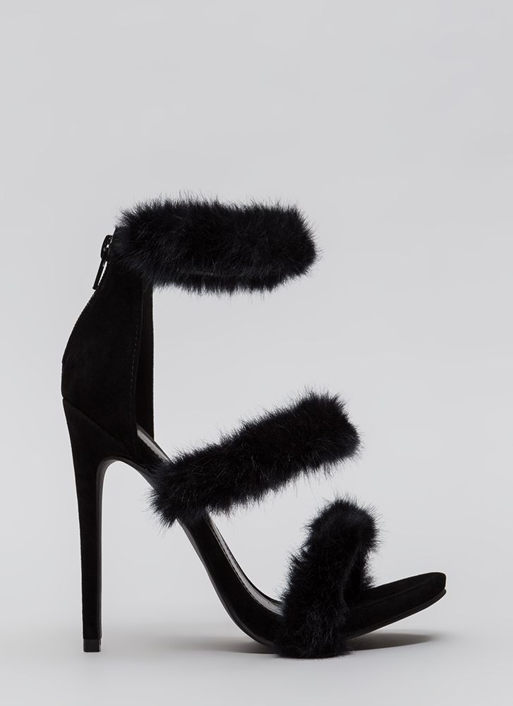 Fur Your Consideration Strappy Heels BLACK