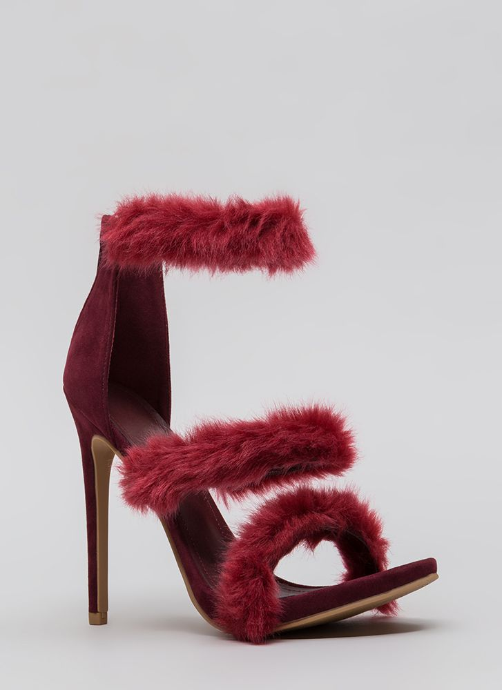 Fur Your Consideration Strappy Heels WINE