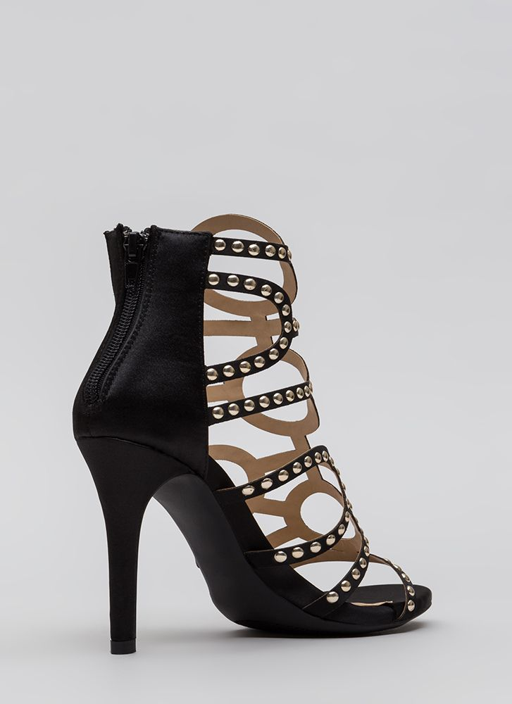 Studs And Satin Strappy Caged Heels BLACK (You Saved $30)