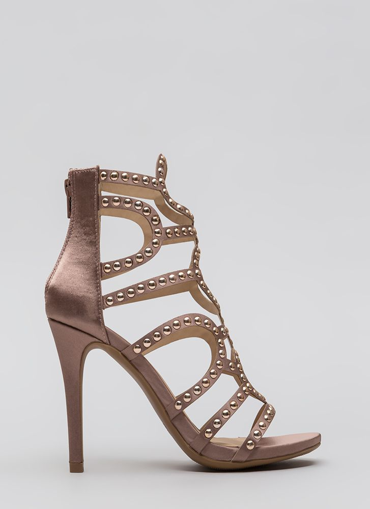 Studs And Satin Strappy Caged Heels MAUVE (You Saved $30)