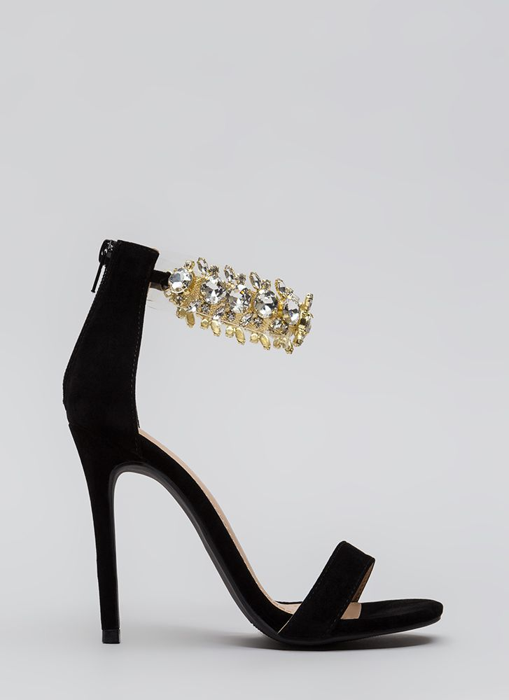 Clearly Jewels Faux Suede Illusion Heels BLACK