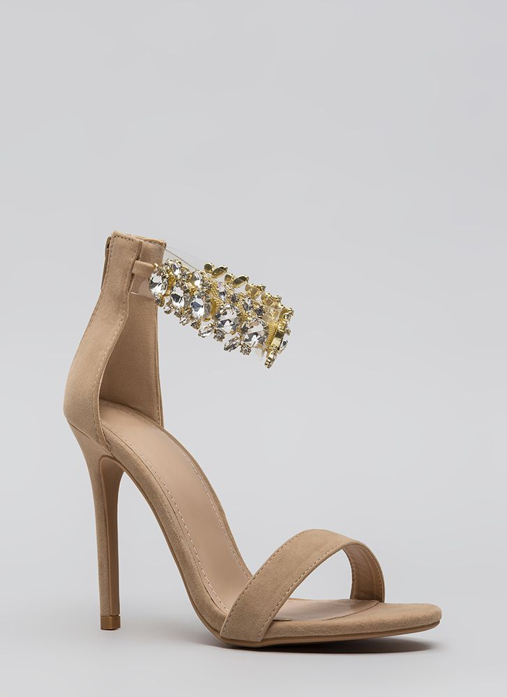 Clearly Jewels Faux Suede Illusion Heels NUDE