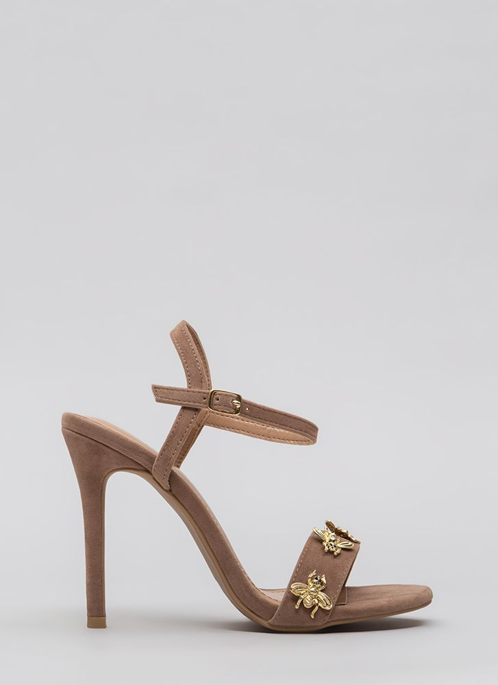 Buzz Worthy Bee Charm Strappy Heels TAUPE
