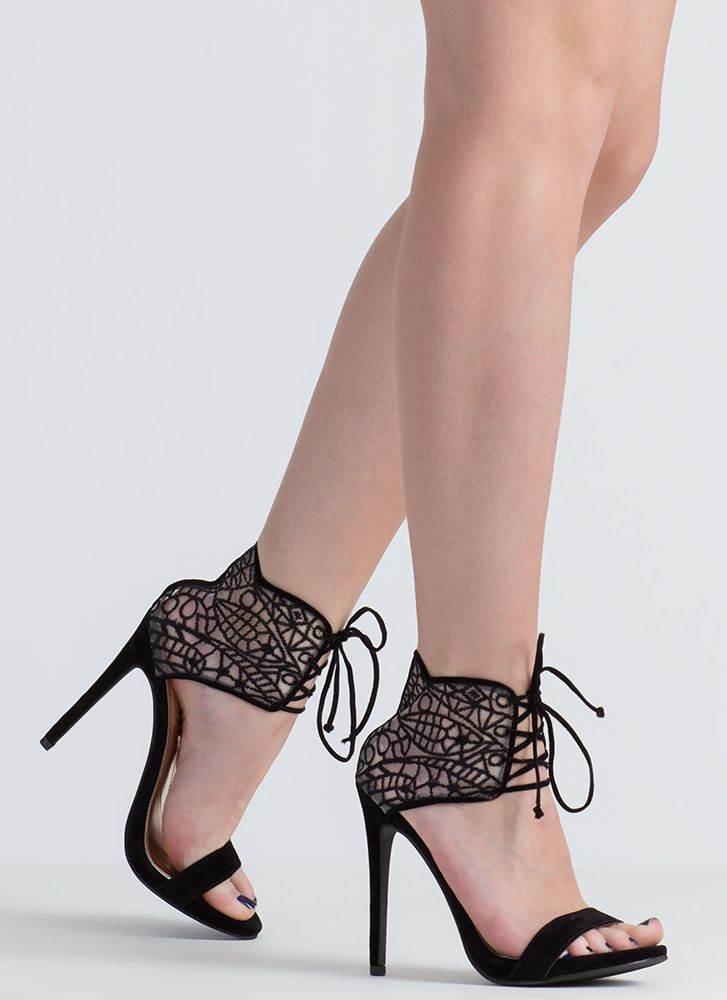 Such A Romantic Lacy Lace-Up Heels BLACK