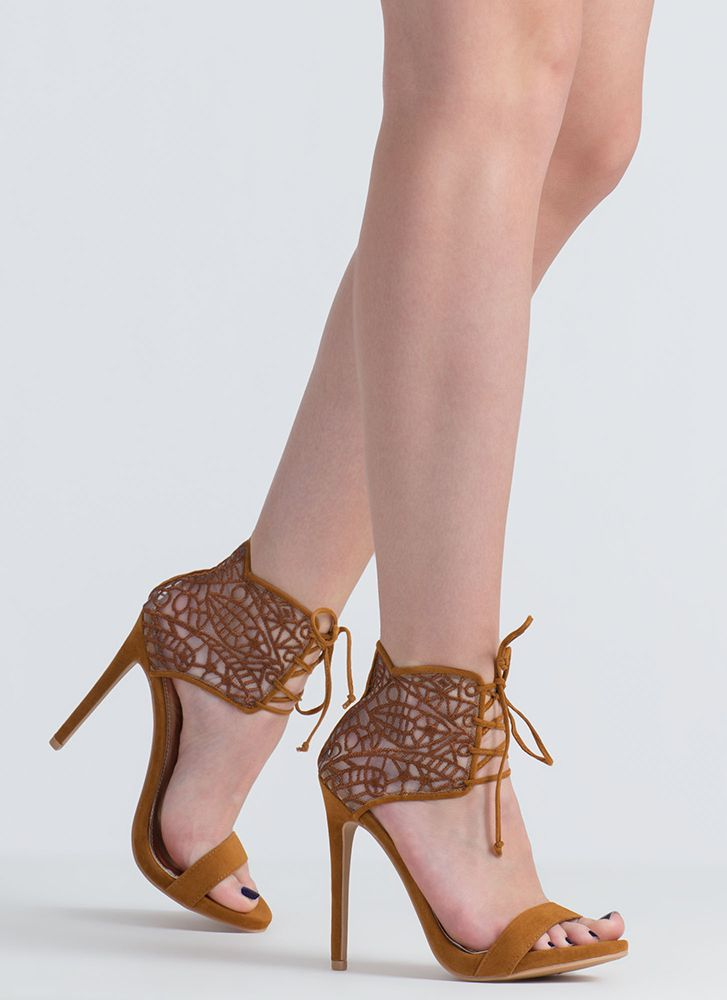Such A Romantic Lacy Lace-Up Heels CHESTNUT