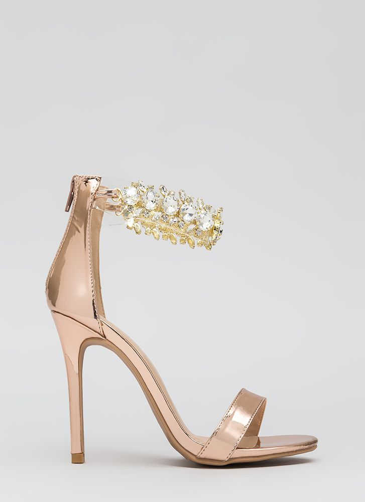 Clearly Jewels Metallic Illusion Heels ROSEGOLD