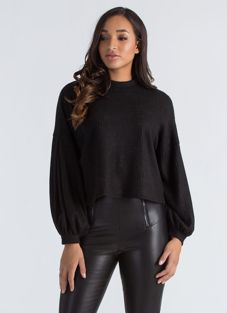 Fuzz Worthy Ribbed Puff Sleeve Sweater BLACK