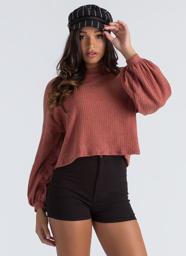 Fuzz Worthy Ribbed Puff Sleeve Sweater RUST