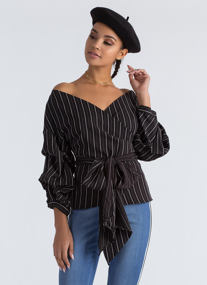 In The Lines Wrapped Pinstripe Blouse BLACK