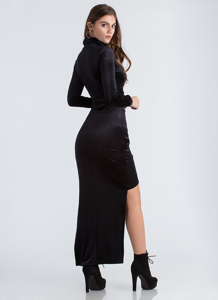 Lesson In Velvet High-Low Cut-Out Dress BLACK