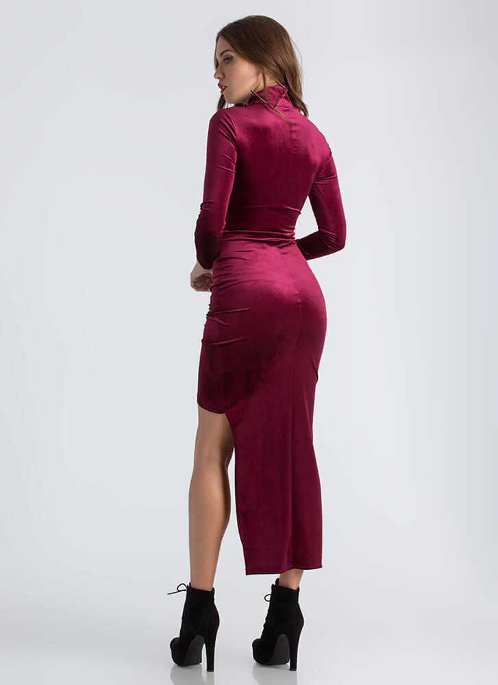 Lesson In Velvet High-Low Cut-Out Dress BURGUNDY