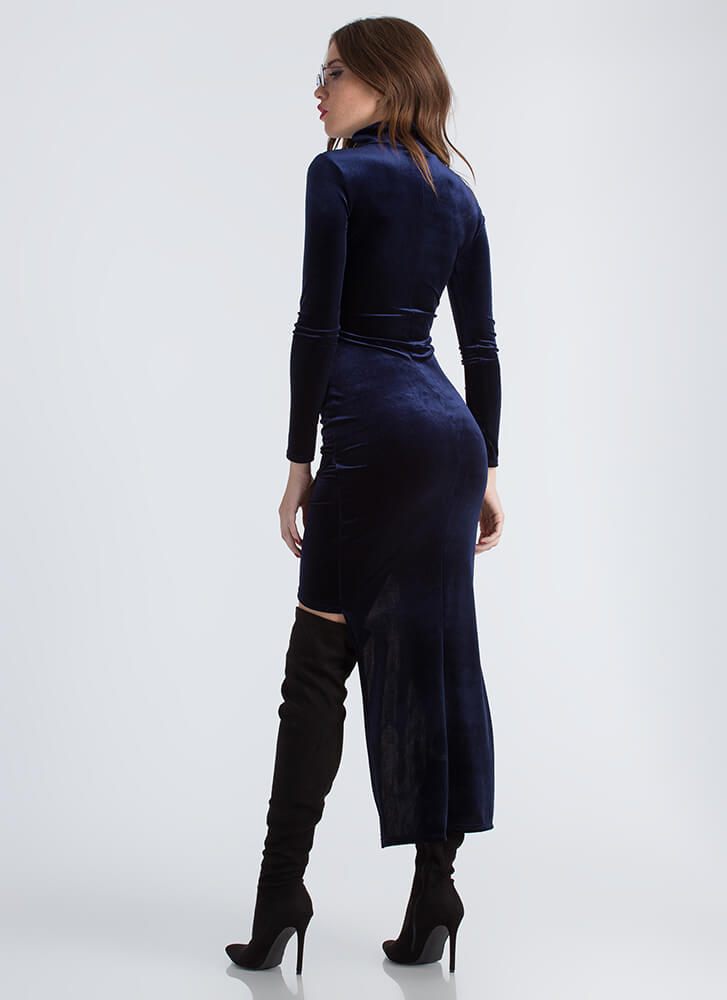 Lesson In Velvet High-Low Cut-Out Dress NAVY