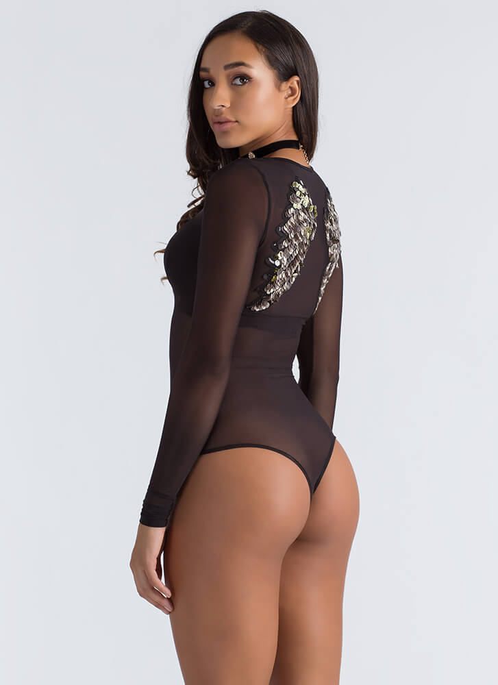 Wing It Sequined Mesh Thong Bodysuit BLACK