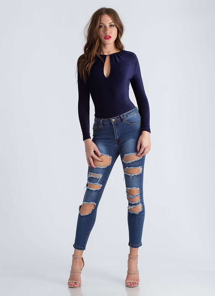 Keyhole To Success Velvet Bodysuit NAVY