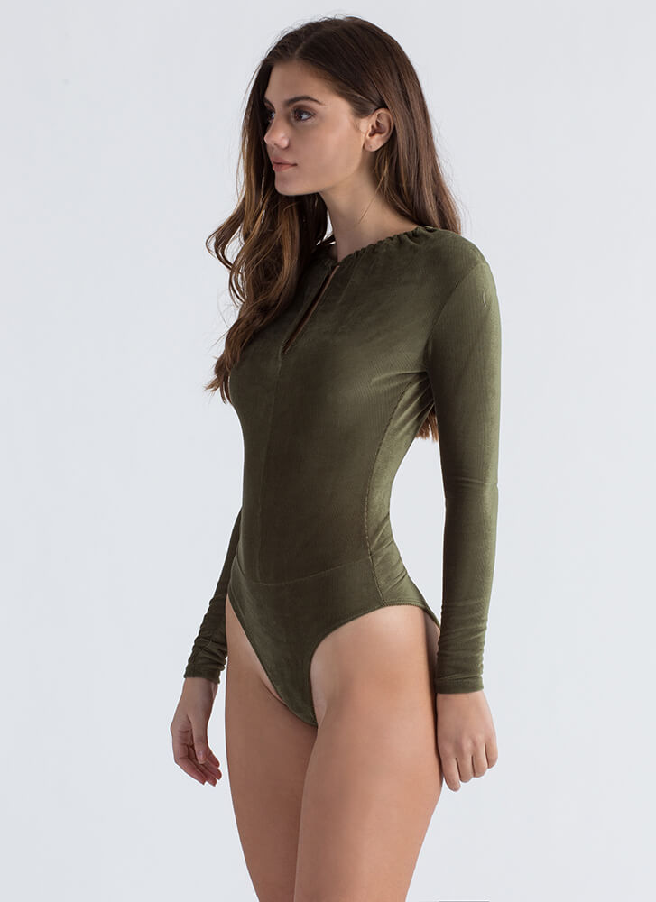 Keyhole To Success Velvet Bodysuit OLIVE