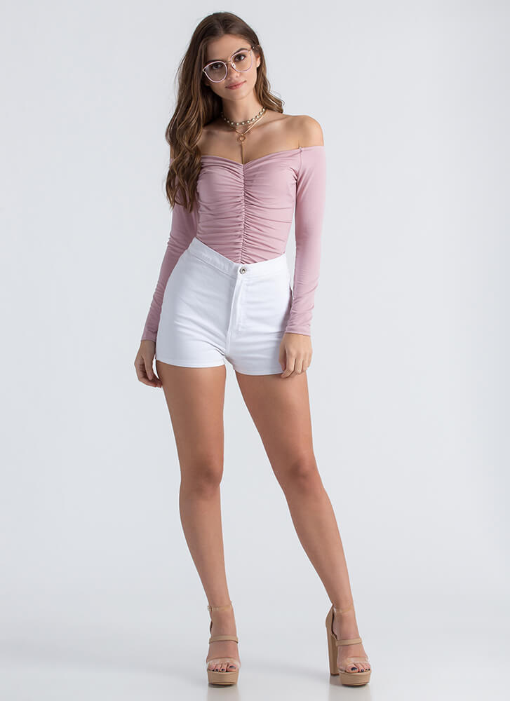 Ruche Into My Off-The-Shoulder Bodysuit BLUSH
