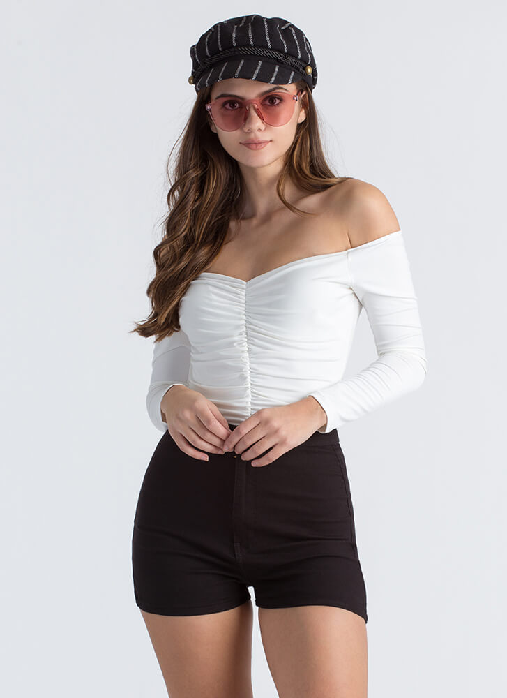 Ruche Into My Off-The-Shoulder Bodysuit IVORY