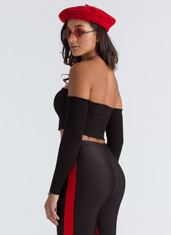 Oh Snap Buttoned Off-Shoulder Crop Top BLACK
