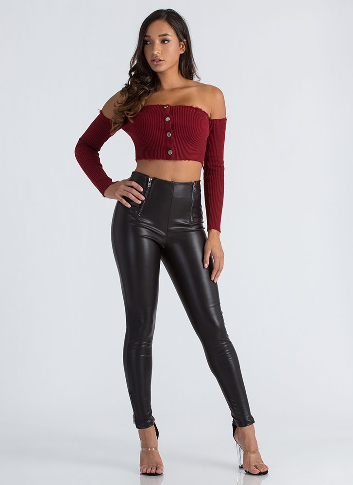 Oh Snap Buttoned Off-Shoulder Crop Top BURGUNDY