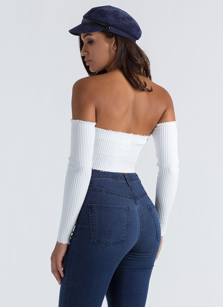 Oh Snap Buttoned Off-Shoulder Crop Top WHITE