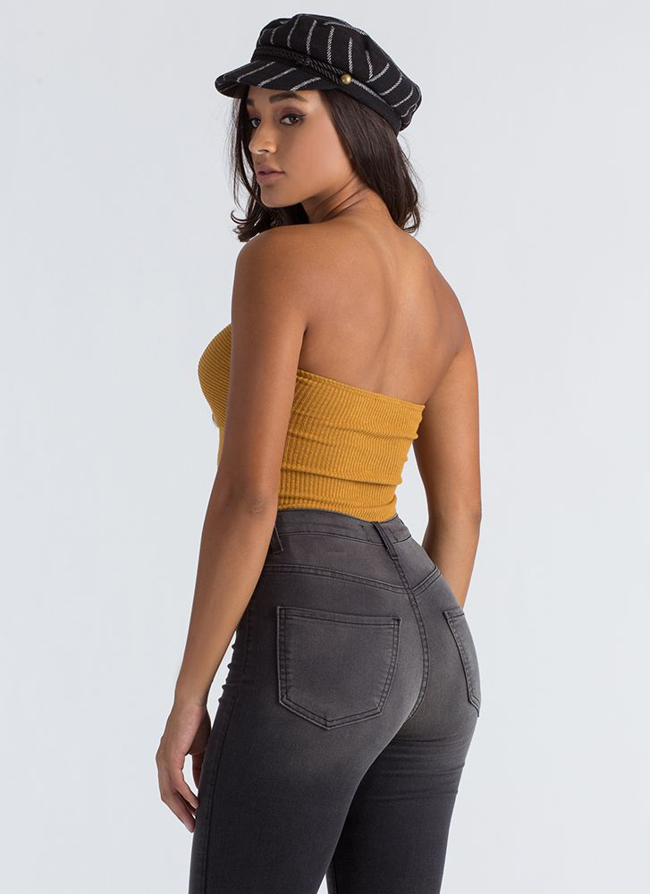 Bow Out Tonight Strapless Thong Bodysuit MUSTARD