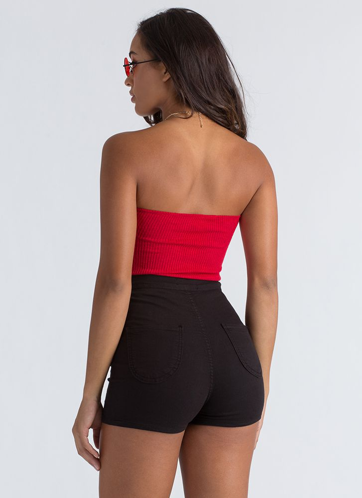 Bow Out Tonight Strapless Thong Bodysuit RED