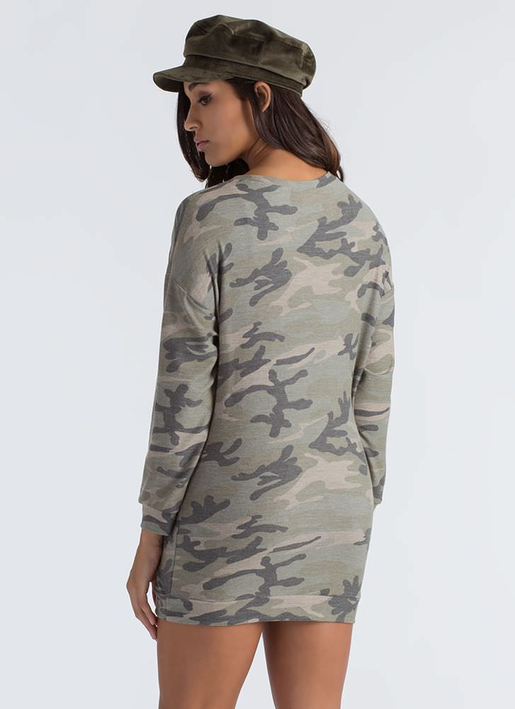 Cool In Camo Terry Sweatshirt Dress CAMOUFLAGE