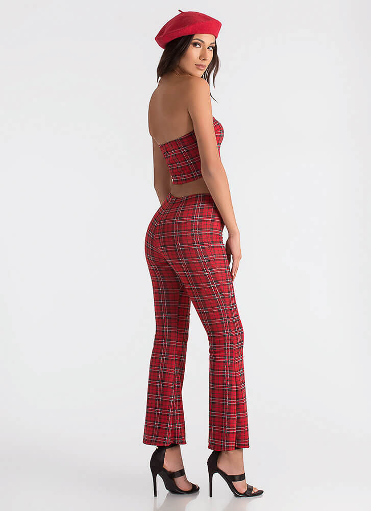 Web Of Lines Grid Print Top And Pant Set RED
