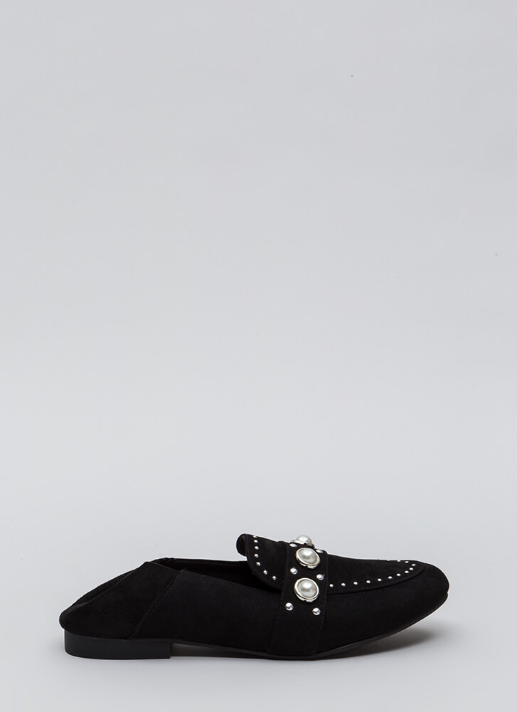 Either Way Studded Faux Pearl Flats BLACK