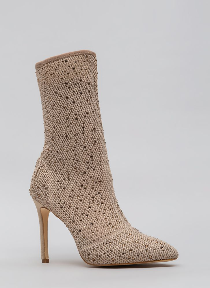 Gem-pire Pointy Jeweled Mesh Booties CHAMPAGNE