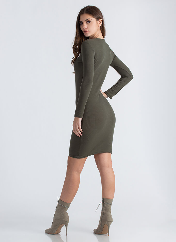 Snap Judgment Buttoned Rib Knit Dress OLIVE