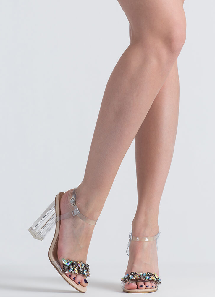 Clearly An Illusion Chunky Jeweled Heels CLEAR